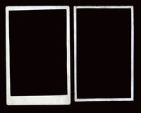 Pair of old photo borders. Two plain white aged photo borders stock image