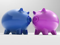 Pair Of Pigs Shows Savings Banking And Money Royalty Free Stock Image
