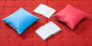 Pair of pillows and books Royalty Free Stock Image