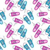 Pair of pink and blue sneakers painted by hand. Seamless repeating pattern of shoes isolated on white background stock illustration