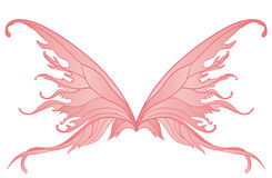 Pair of pink fairy wings. On white Stock Photos