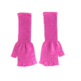 Pair of pink fingerless gloves. On white background Stock Image