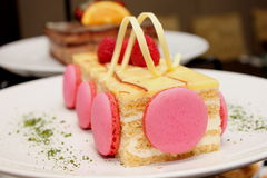 Pair of pink french macaroons cake Stock Photography