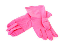 Pair of pink household gloves Stock Photos