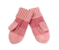 Pair of pink knitted mittens. Royalty Free Stock Images