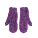 Pair of pink mohair gloves Stock Photos