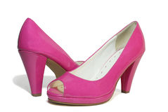 Pair of pink patent-leather shoes Royalty Free Stock Images