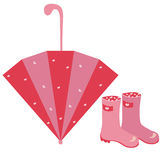 Pair of pink rubber with umbrella Royalty Free Stock Photo