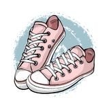 A pair of pink sneakers isolated on white background. Hand drawn vector illustration royalty free illustration
