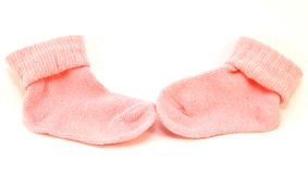 Pair of pink sock on a white background Stock Images