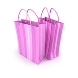 Pair of pink striped shopping bags. 3D rendering of two pink striped shopping bags against a white background Royalty Free Stock Image