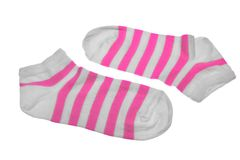 Pair Pink And White Striped Ladies Socks Royalty Free Stock Photos