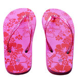 Pair of pink womans slippers isolated on the white background Royalty Free Stock Image