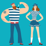 Pair of pirates man and woman Royalty Free Stock Photography