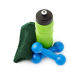 Pair of Plastic coated dumbells isolated over the white background Stock Photos
