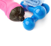 Pair of Plastic coated dumbells isolated over the white background Stock Images
