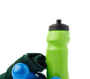 Pair of Plastic coated dumbells  over the white background Stock Photos
