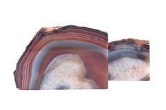 Pair of polished multicolor agate geode bookends. Isolated on white background Royalty Free Stock Image