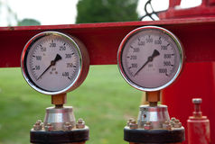 Pair of pressure gauges Stock Image