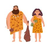 Pair of primitive archaic man and woman dressed in fur clothes and standing together. Romantic couple from Stone Age. Cavemen. Cartoon characters isolated on royalty free illustration