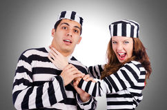 Pair of prisoners. On white Stock Images