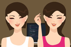 Pair programming beautiful woman girl coding in front of screen Royalty Free Stock Photo