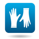 Pair of protective gloves icon, simple style. Pair of protective gloves icon in simple style on a white background Stock Photos