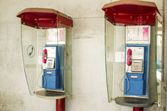 Pair of public telephones. In box Eger Hungary Royalty Free Stock Photography