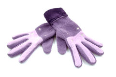 Pair of purple gloves Stock Photos