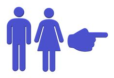 A pair of purple male and female and a hand pointing symbol stock photography