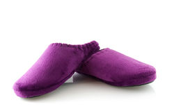 Pair of purple slippers Stock Photos