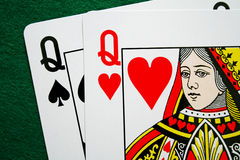Pair of queens. Close up of a pair of card queens stock images