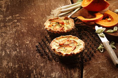 Pair of Quiche Tarts with Fresh Vegetables Royalty Free Stock Photos