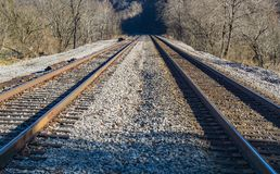 Railroad Tracks Through Rural Virginia, USA - 2. Pair of railroad tracks running through the mountains located in rural southwest Virginia, USA royalty free stock photography