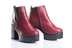 Pair of red autumn boots Stock Photo