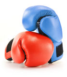 Pair of red and blue leather boxing gloves  on white Royalty Free Stock Photography
