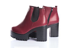 Pair of red boots for spring or autumn wear Royalty Free Stock Images
