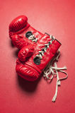 A Pair of red boxing gloves Royalty Free Stock Photos