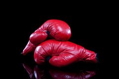Pair of Red boxing Gloves on Black stock images