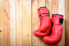 Pair of red boxing gloves Royalty Free Stock Photos