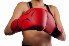 A pair of red boxing gloves, punching concept Stock Image