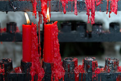 Pair of red candles in the temple Royalty Free Stock Photo