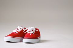 A pair red children shoes Stock Photo