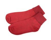 Pair of red cotton socks Stock Photos