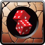 Pair of red dice on cracked bronze web button Royalty Free Stock Photography