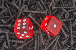 Pair of red dice lying Royalty Free Stock Photography