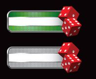 Pair of red dice on specialized banners Royalty Free Stock Photography