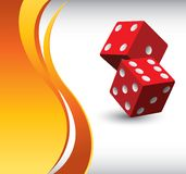 Pair of red dice on vertical orange wave backdrop Stock Photos