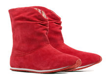 Pair of red female boots royalty free stock photos