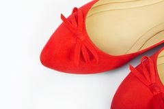 Pair of red female shoes, closeup Stock Images